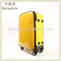 2014 popular best quality pu yellow travel spinner luggage/girl luggage/stylish luggage
