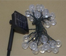 cutely 5m 30 Bulbs LED Solar Motif String Light Crystal Ball Light for Christmas Decoration