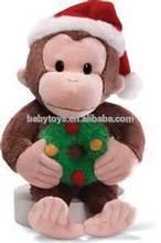 Christmas animal plush toys Christmas decoration gifts Christmas monkey toy with Santa hat