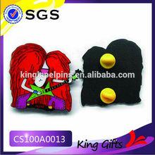 Music girl black lapel pin badge with red hair guitar