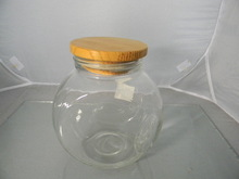 Glass vacuum food storage container with wooden lid , glass jar with wooden top