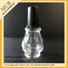 skull empty nail polish with cap glass bottle