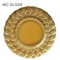 neue billige hochzeit großhandel blattgold geprägt glas ladegerät platte