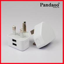 dual usb 3 pin travel charger for iphone 5/5s