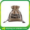 Custom black logo printed jute pouch for wine bottle
