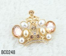 Bridal Pearl and rhinestone crown broochs , cheap wholesale gold crystal brooch