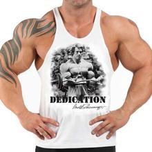Cotton sublimation t-back bodyduilding vest custom mens gym clothing