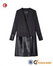 OEM custom fashion Collarless wool coat wholesale