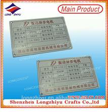 Die-cast metal label for plastic nameplate engraving machine electric motor nameplate