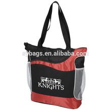 Athletic two-tone tote bag / bottle pocket tote bag / durable tote bag