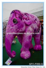 Large Garden Fiberglass Animal painted sculptures pretty color elephants Statues