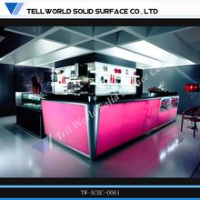 Tell World high standard curved acrylic bar top bright modern mobile bar counter