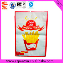 nice design three sides seal French Fries packaging bag with tear notch