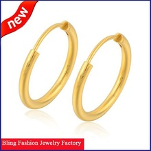 Free Shipping Smooth 24K Yellow Gold Plated Women's Big Round Hoop Earrings