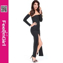 Wholesale black cut cheap ladies simple fashion dress