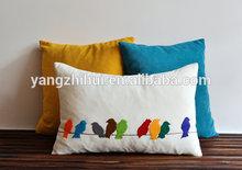 Colorful Silhouette Felt Bird Appliqued cushion