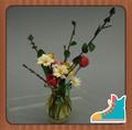 Casa delle bambole in miniatura 1/12scale argilla artificiale margherite, tulipani in vaso di vetro