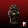 antique preto porcelana jar gengibre com desenho de ouro