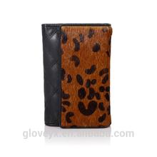 Fashion classic women leopard horse fur leather wallet card holder hand bag