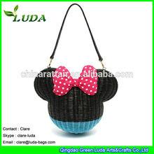 LUDA man mande mouse shape rattan straw lovely shoulder bag