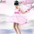 mais recentes modelos de vestido para crianças de algodão rosa com cinto
