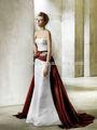 frete grátis pregas corpete uma linha branca e vermelho vestidos de noiva de alta qualidade de cetim elegantes baratos vestidos de noiva