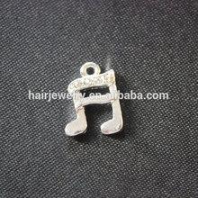 15X12mm Fashion Metal Silver Plated Musical Tone Charm Crystal Music Pendant Custom