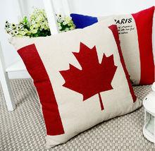 fashion low price maple leaf image linen cushion simple design bedding cushion