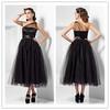 2014 Hot Sale Bridesmaid Dresses A Line One shoulder Tea length Net/Tulle Evening Dresses/Cocktail Dresses