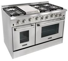 Heavy duty 48 inch range double oven, 6 burner gas cooking range, stainless steel gas range