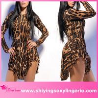 Hot Sale Wholesale Trill Leopard Flared Club women tight latex dress