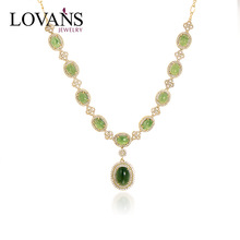 Wholesale Jewelry Silver Gold Plate Necklace with Jade Jewelry Necklace LWN0009