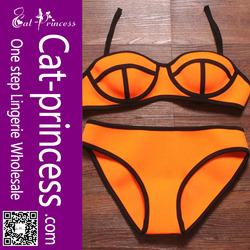 2015 Newest orange neoprene beachwear swimwear bikini brazil