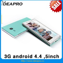 china smart mobile phone android 4.4 3G WCDMA 5inch mtk 6572 dual camera mobile phone