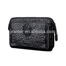 New Personalized Business Mens Real Crocodile Leather Clutch Handbag Black OEM ODM