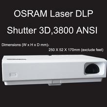 Shutter 3D portable 3800 lumens DLP LED laser projection clock