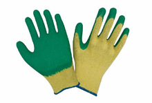 10 gauge seamless yellow liner green latex coating natural rubber gloves cotten liner