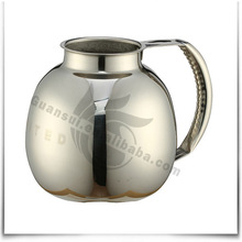 Small round metal stainless steel hot water pitcher