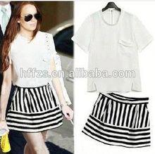 summer 2014 Euramerican split a T-shirt and high waist striped skirt set