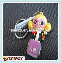 3D Custom human figure shape soft PVC rubber keychain