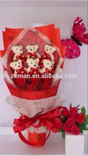Handmade Wedding bridal bouquet Soft Plush Toy Bouquet Teddy Bear Bouquet Cartoon Doll Fake Rose Valentine/Graduation Gift