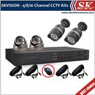 SKVISION 4CH WD1 DVR Kit H.264 DVR, 20m IR Camera Security Camera Kit System