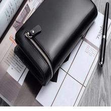 2014 fashion OEM men high-end vintage practical and Bbi-fold zipper genuine top layer cowhide leather wallet/bill case/handbags