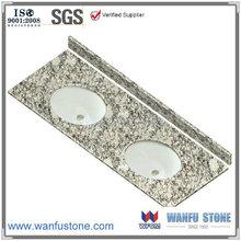 61 inch 61''x22'' Flat Edge/ Eased Edge double bowl Wave white Granite Vanity Top