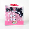 Balck and white dot printed ribbon bow hair bow & headband set by supperies