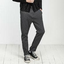 2015 novo design atacado mens algodão calças pretas listradas branco