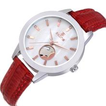 SKONE 9376 Genuine Leather Strap Shell Dial Ladies Skeleton Watch