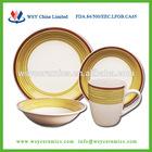 16 piece round shape hand painted stoneware tableware dinner set