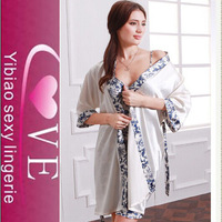 comfortable Two-piece silk robe hanging skirts sexy silk nightwear lingerie