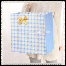 Popular Blue Lattice Broaden Paper Shopping Gift Bag